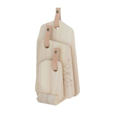 TAK Design Wood Organic Cutting Board with Leather Set of 3 Pieces