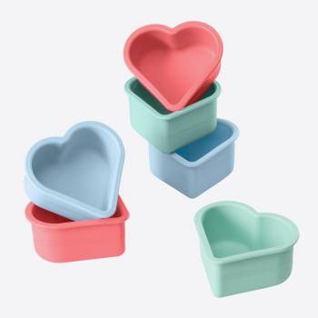 Lurch Flexiform set de 6 formes de muffins silicone coeur rose et bleu 7.5x7.1x3.6cm