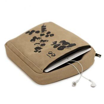 Bosign coussin/housse de protection pour tablette en coton kaki 27x22x9.5cm