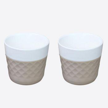 Cookut Lola set de 2 tasses à café en porcelaine taupe 125ml