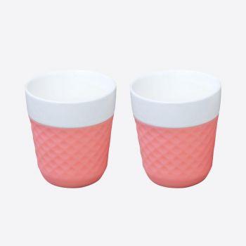 Cookut Lola set de 2 tasses à café en porcelaine rose 200ml