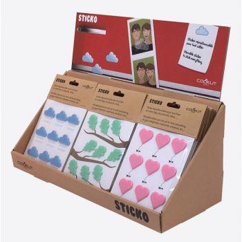 Cookut Sticko set de 9 étiquettes en silicone cœur; nuage ou feuille (18pcs/disp.)