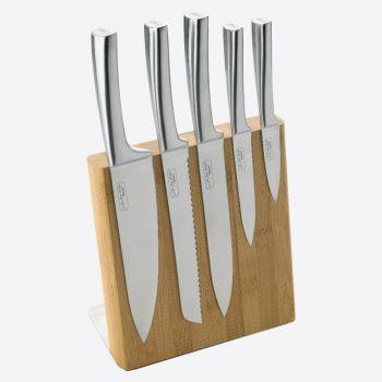 Jean Dubost bloc à couteaux magnétique en bambou avec 5 couteaux