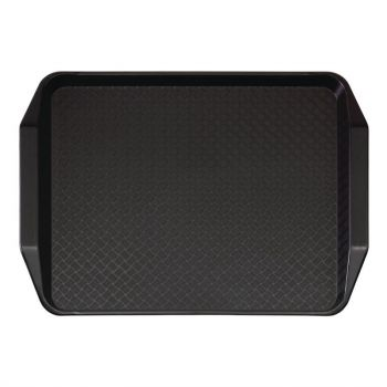 Plateau rectangulaire avec poignées en polypropylène Fast Food Cambro noir 43 cm