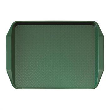 Plateau rectangulaire avec poignées en polypropylène Fast Food Cambro vert 43 cm