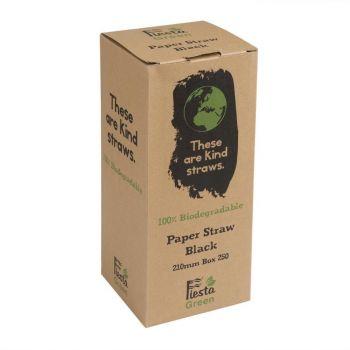 Pailles en papier compostables Fiesta Green noires