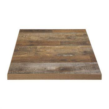 Plateau de table carré Bolero effet bois vieilli - 70 cm