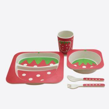 Dotz Kids set avec assiette; bol; gobelet et couverts en fibre de bambou Fraise