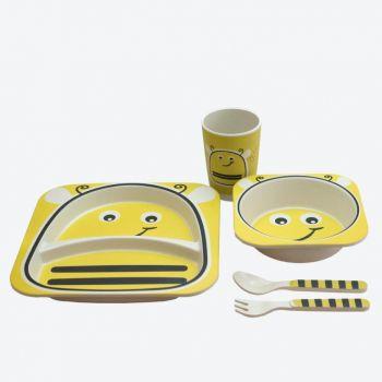 Dotz Kids set avec assiette; bol; gobelet et couverts en fibre de bambou Abeille 2ième choix problème de couleur