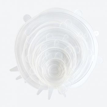 Dotz set de 6 couvercles transparents en silicone ø 6; 9; 11; 14; 16 & 21cm