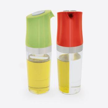 Dotz 2-en-1 bouteille d'huile et vinaigre vert ou rouge 180ml (8pcs/disp.)
