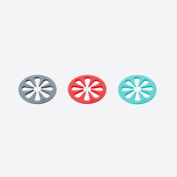 Dotz set de 4 sous-verres par Nik Baeyens rouge; gris ou bleu aqua (12pcs/disp.)