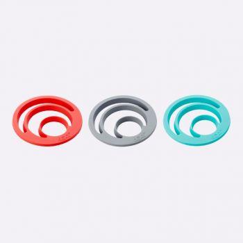 Dotz sous-plat en silicone par Nik Baeyens rouge; gris ou bleu aqua (12pcs/disp.)