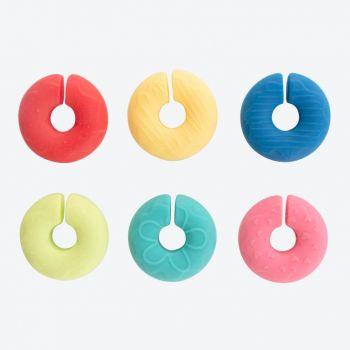Dotz set de 6 marqueurs de verre en silicone donut
