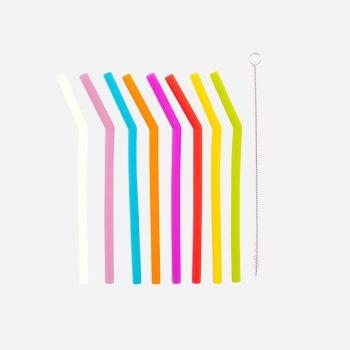 Dotz set de 8 pailles courbes en silicone multicolore avec brosse 16.5cm