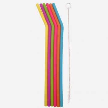 Dotz set de 6 pailles courbes en silicone multicolore avec brosse de nettoyage 25cm
