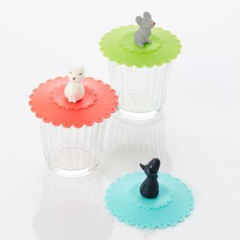 Dotz couvercle en silicone Animals vert; bleu ou rouge ø 10.5cm H 6.5cm (18pcs/disp.)