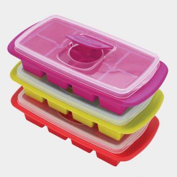 Joie moule à 8 glaçons avec couv. vert; bleu; rouge ou violet 25x12.7x6cm (12 ass.)