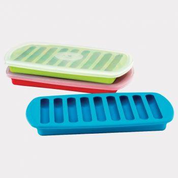 Joie moule à glaçons avec couvercle pour 9 bâtons à glace rouge; vert ou bleu (12 ass.)