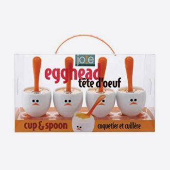 Joie Egghead set de 4 coquetiers avec cuillère en matière synthétique blanc