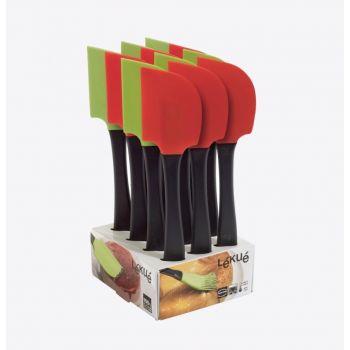 Lékué spatule en silicone et mat. synth. vert ou rouge 27.5cm (12pcs/disp.)