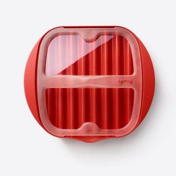 Lékué assiette à bacon au micro-ondes en mat. synth. rouge 25x27.7x6.8cm (6pcs/disp.)