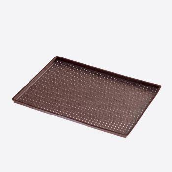 Lékué forme à pizza rectangulaire à trous en silicone brun 40x30x0.2cm