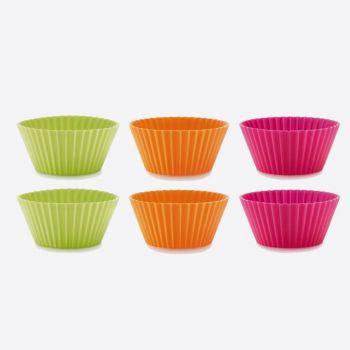 Lékué set de 6 moules à muffins nervurés en silicone orange; rose; vert Ø 7cm H 3.5cm