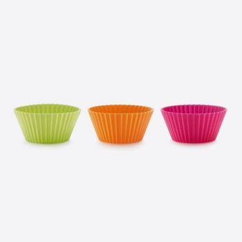 Lékué set de 12 moules à muffins plissés en silicone rose; orange et vert Ø 7cm H 3.5cm