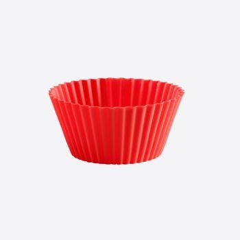 Lékué set de 12 moules à muffins plissés en silicone rouge Ø 7cm H 3.5cm
