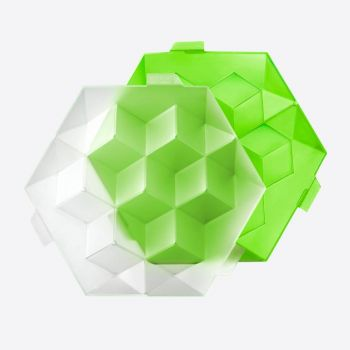 Lékué moule à 7 glaçons en matière synthétique avec couvercle vert 24.5x22x7.5cm
