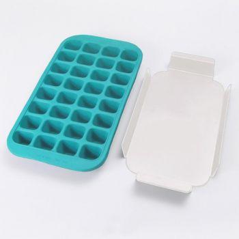 Lékué moule à glaçons en caoutchouc avec plateau pour 32 glaçons bleu 33.5x18x3.3cm
