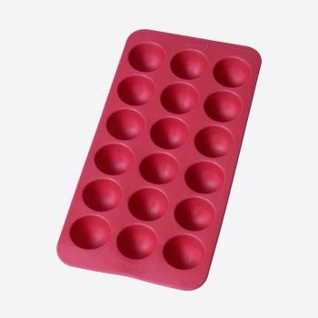 Lékué moule à glaçons en caoutchouc pour 18 glaçons ronds rouge 22x11x2.3cm