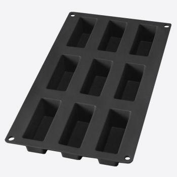 Lékué moule en silicone pour 9 gâteaux rectangulaires noir 8x3x3.3cm
