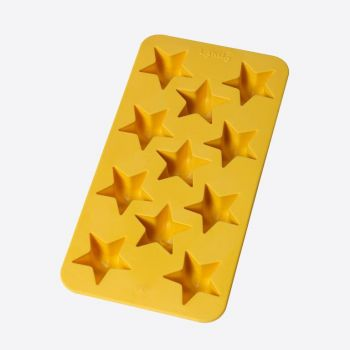 Lékué moule à glaçons en caoutchouc pour 11 glaçons étoiles jaune 22x11x2.3cm