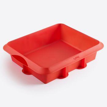 Lékué moule à tarte carré en silicone rouge 24x20x6.5cm