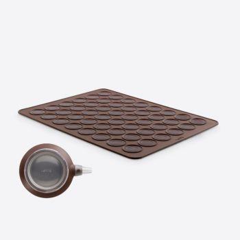 Lékué set à macaron avec seringue à pâte et tapis de cuisson brun 40x30x0.3cm