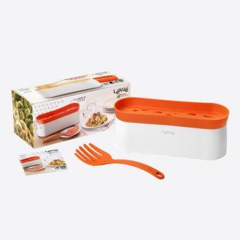 Lékué cuiseur à pâtes au micro-ondes et cuillère blanc et orange 28x11x11.2cm