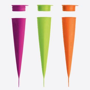 Lékué set de 3 moules à calippo en silicone vert; rose et orange 4x4.8x20.2cm