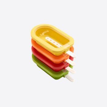 Lékué set de 4 mini moules à bâton glacé rouge; orange; jaune et vert 10.5x6.5x2.6cm