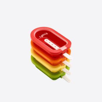 Lékué set de 4 moules à bâton glacé rouge; orange; jaune et vert 16.5x7.5x2.6cm