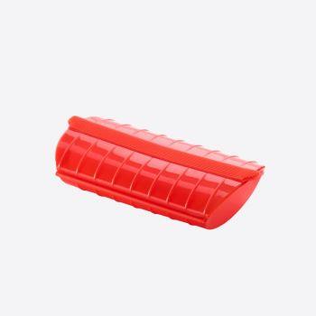 Lékué cuiseur vapeur au micro-ondes pour 1-2 personnes rouge 24x12.4x5cm