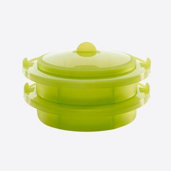 Lékué cuiseur vapeur avec 2 compartiments en silicone vert Ø 22cm H 12cm