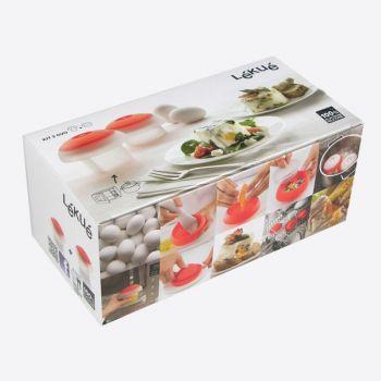 Lékué set de 2 cuiseurs à oeuf au micro-ondes ou bain-marie rouge - carré et cyl.