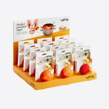 Lékué pocheuse à oeufs en silicone et inox orange 11x4.5x7cm (12pcs/disp.)