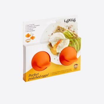 Lékué set de 2 pocheuses à oeufs en silicone et inox orange 11x4.5x7cm