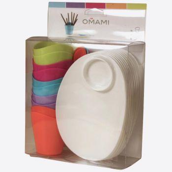 Omami set en 1 couleur: assiette; verre 90ml & 10x cuillères en 5 couleurs