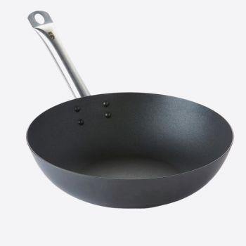 Point-Virgule wok en acier carbone avec rev. anti-adhérent Excalibur ø 30cm