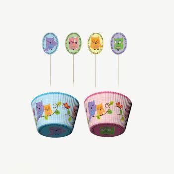 Point-Virgule set de 24 caissettes & décorations pour cupcakes Owl pals