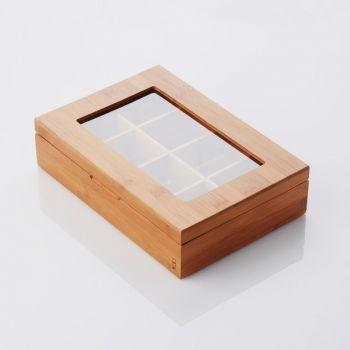 Point-Virgule boîte à thé en bambou avec 8 compartiments 29x20x7.3cm